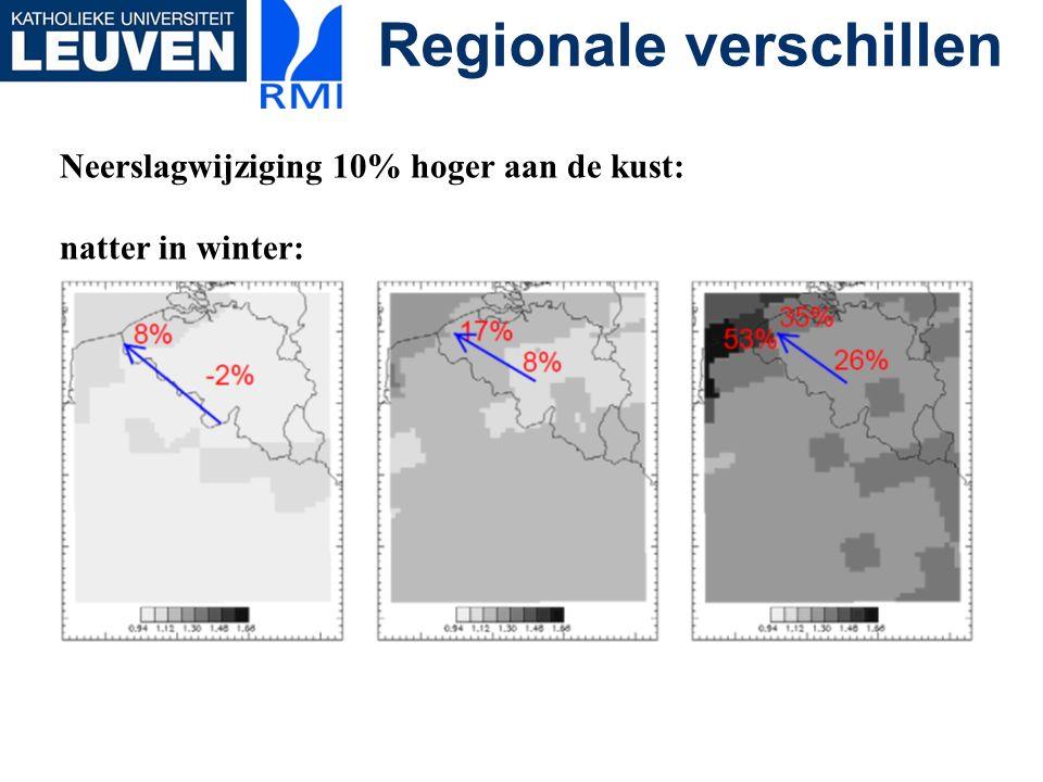Regionale verschillen Neerslagwijziging 10% hoger aan de kust: natter in winter: