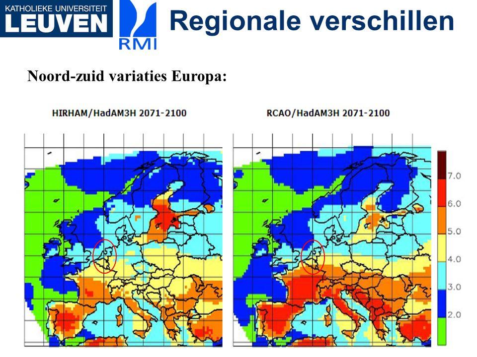 Regionale verschillen Noord-zuid variaties Europa: minder droog in zomer: