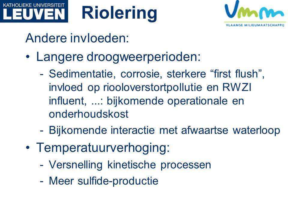 Riolering Andere invloeden: Langere droogweerperioden: -Sedimentatie, corrosie, sterkere first flush , invloed op riooloverstortpollutie en RWZI influent,...: bijkomende operationale en onderhoudskost -Bijkomende interactie met afwaartse waterloop Temperatuurverhoging: -Versnelling kinetische processen -Meer sulfide-productie
