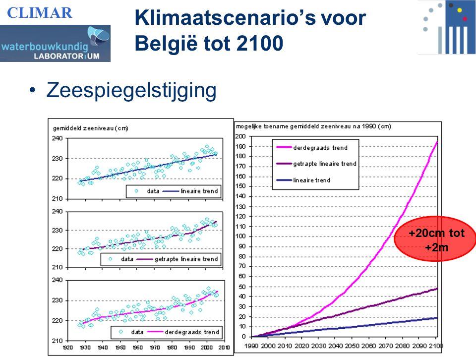 Zeespiegelstijging Klimaatscenario's voor België tot 2100 +20cm tot +2m