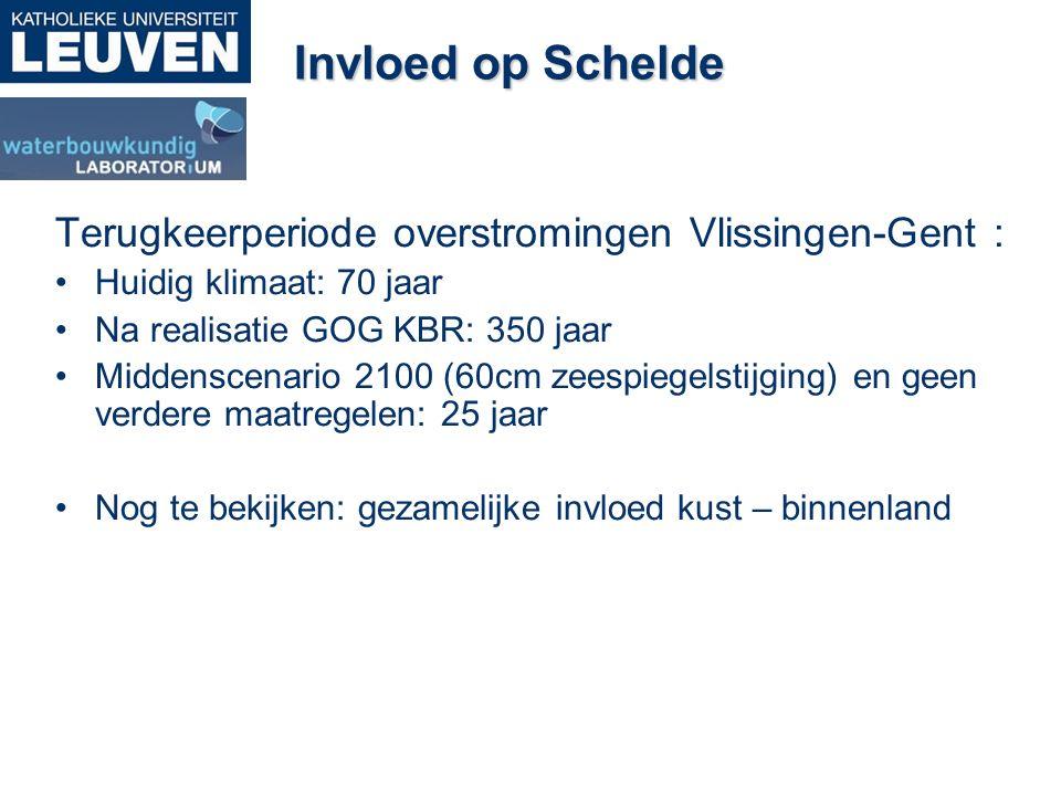 Invloed op Schelde Terugkeerperiode overstromingen Vlissingen-Gent : Huidig klimaat: 70 jaar Na realisatie GOG KBR: 350 jaar Middenscenario 2100 (60cm zeespiegelstijging) en geen verdere maatregelen: 25 jaar Nog te bekijken: gezamelijke invloed kust – binnenland