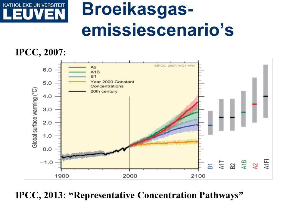 "Broeikasgas- emissiescenario's IPCC, 2007: IPCC, 2013: ""Representative Concentration Pathways"""