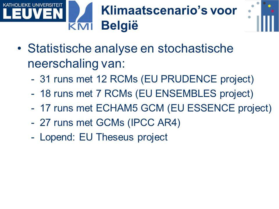 Klimaatscenario's voor België Statistische analyse en stochastische neerschaling van: -31 runs met 12 RCMs (EU PRUDENCE project) -18 runs met 7 RCMs (EU ENSEMBLES project) -17 runs met ECHAM5 GCM (EU ESSENCE project) -27 runs met GCMs (IPCC AR4) -Lopend: EU Theseus project