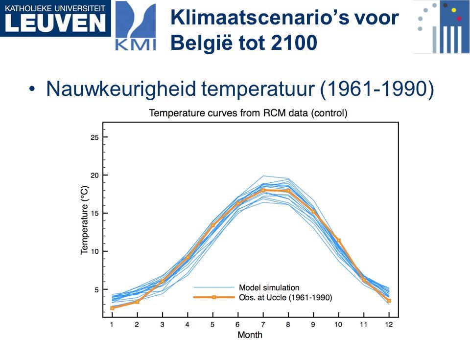 Nauwkeurigheid temperatuur (1961-1990) Klimaatscenario's voor België tot 2100