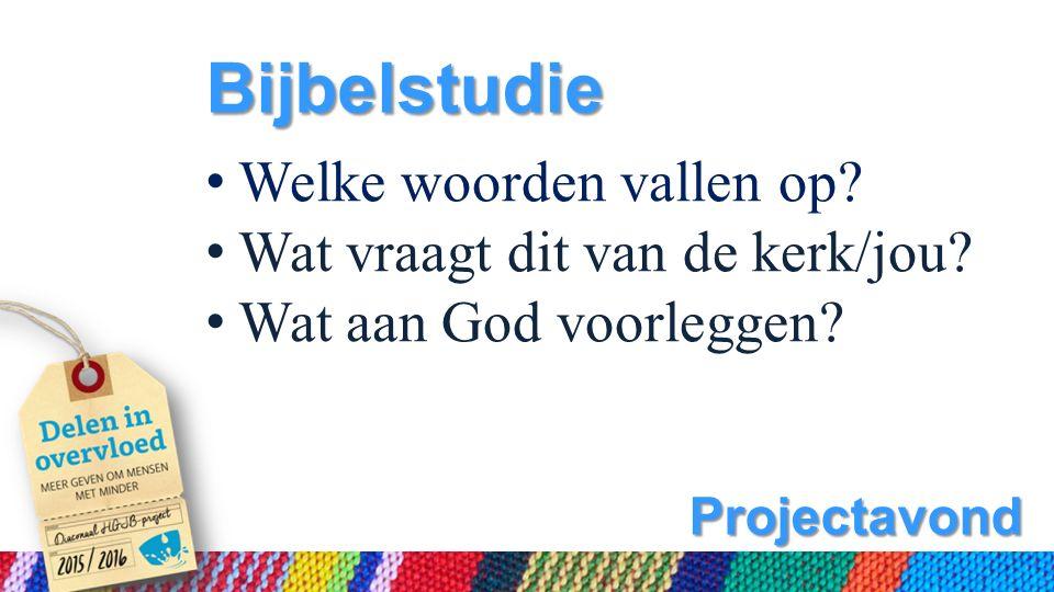 Projectavond Bijbelstudie Welke woorden vallen op.