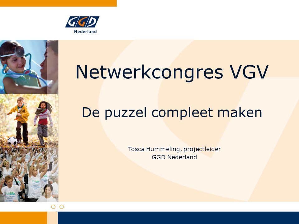 Wat is gedaan 2006 t/m 2011 Pilot 2006-2009 door 6 GGD'en 2010-2011 Landelijke uitrol door GGD Nederland Samenwerking met landelijke partners Pharos en FSAN Sleutelpersonen VGV Ook andere beroepsgroepen: AMK, verloskundigen, medisch modelprotocol door NVOG e.a.