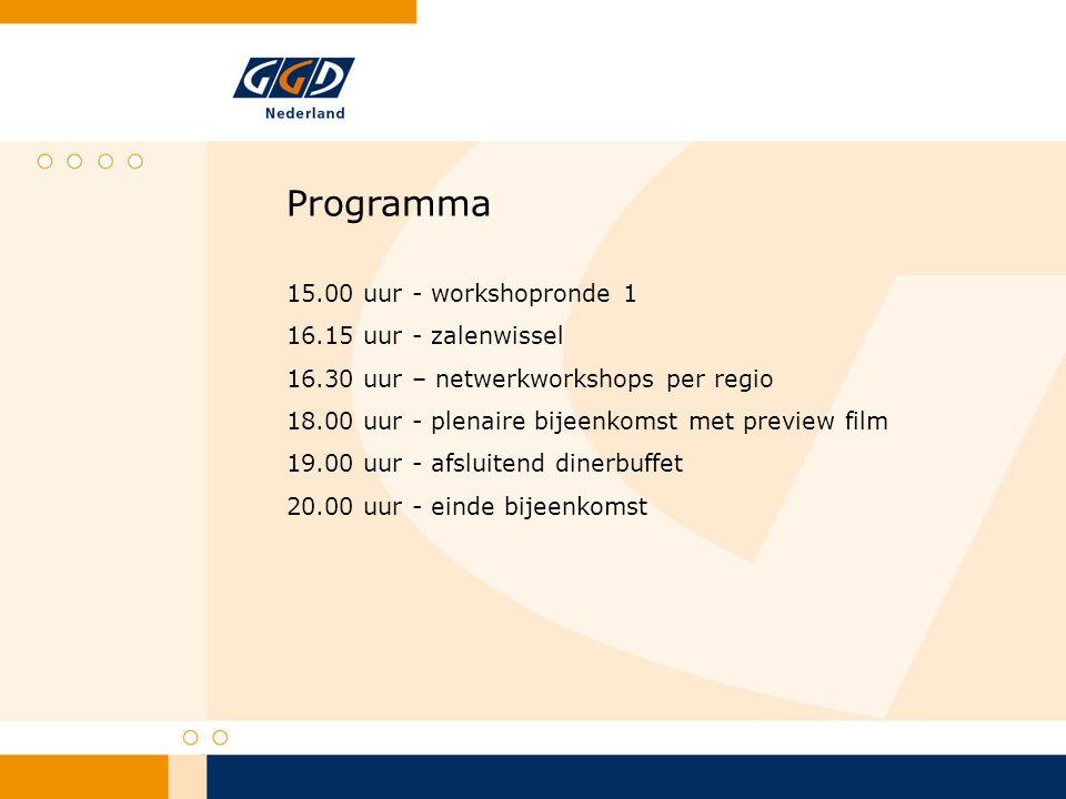 Programma 15.00 uur - workshopronde 1 16.15 uur - zalenwissel 16.30 uur – netwerkworkshops per regio 18.00 uur - plenaire bijeenkomst met preview film 19.00 uur - afsluitend dinerbuffet 20.00 uur - einde bijeenkomst