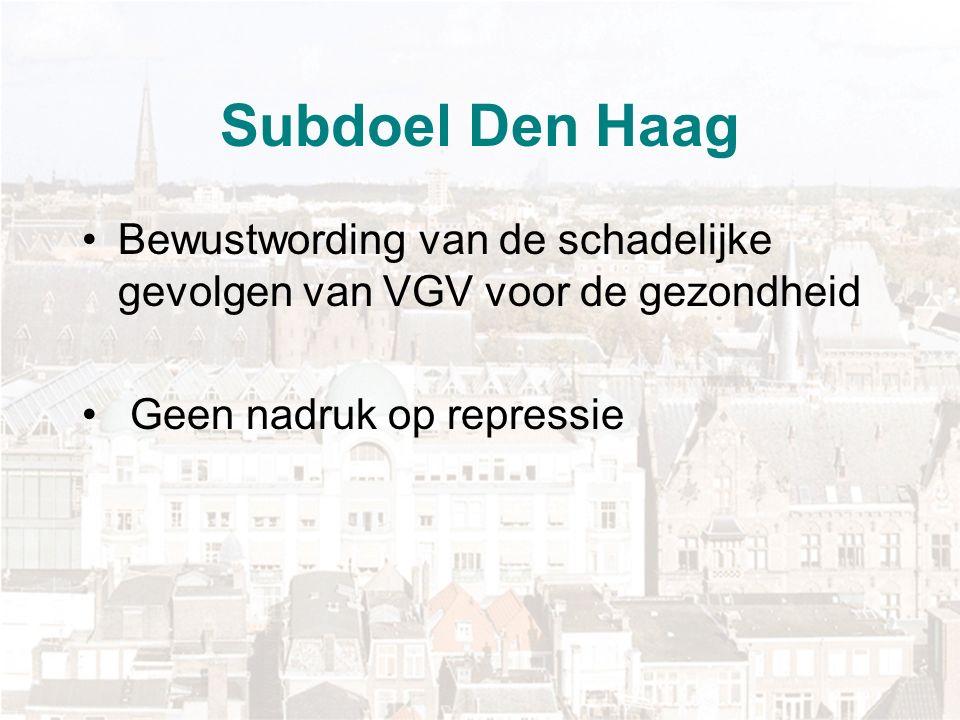 Subdoel Den Haag Bewustwording van de schadelijke gevolgen van VGV voor de gezondheid Geen nadruk op repressie