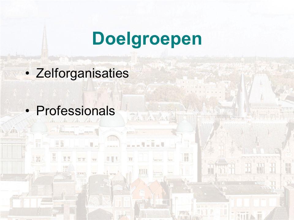 Doelgroepen Zelforganisaties Professionals