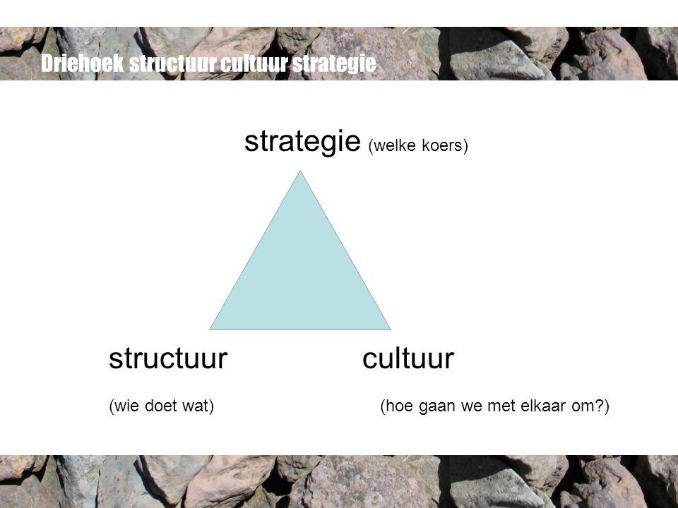 Driehoek structuur cultuur strategie strategie (welke koers) structuur cultuur (wie doet wat)(hoe gaan we met elkaar om )