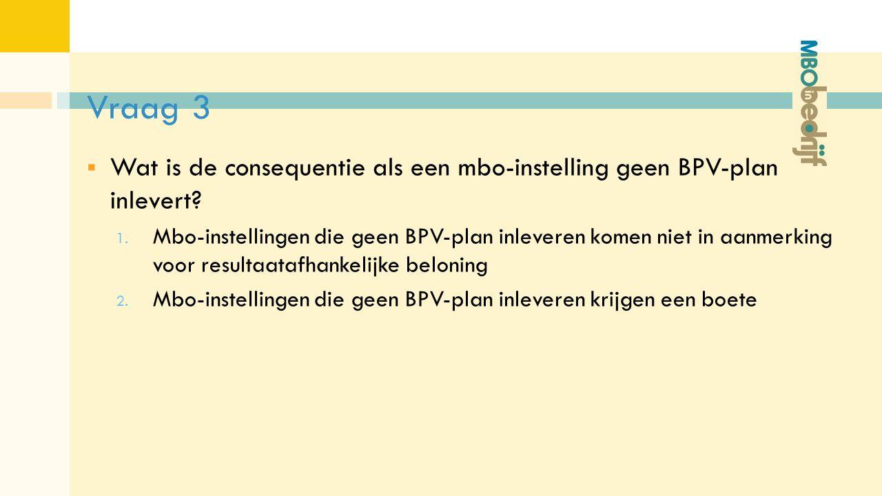 Vraag 3  Wat is de consequentie als een mbo-instelling geen BPV-plan inlevert.