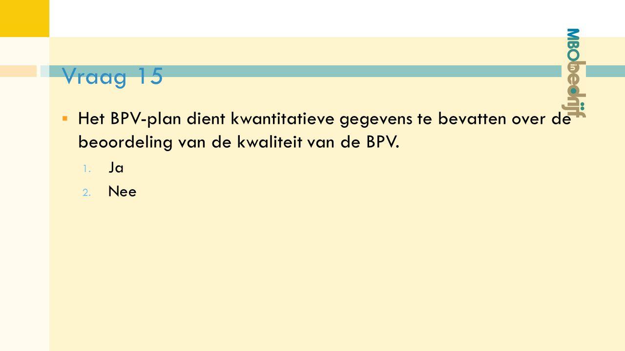Vraag 15  Het BPV-plan dient kwantitatieve gegevens te bevatten over de beoordeling van de kwaliteit van de BPV.