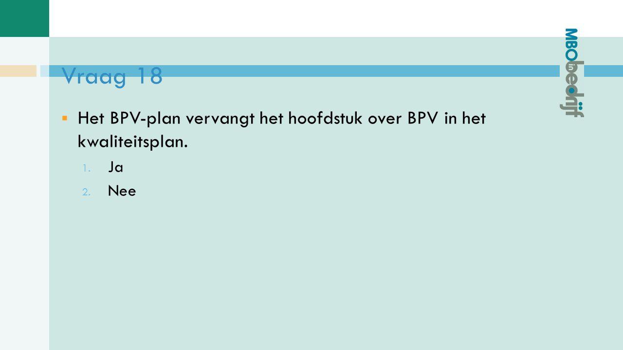 Vraag 18  Het BPV-plan vervangt het hoofdstuk over BPV in het kwaliteitsplan. 1. Ja 2. Nee