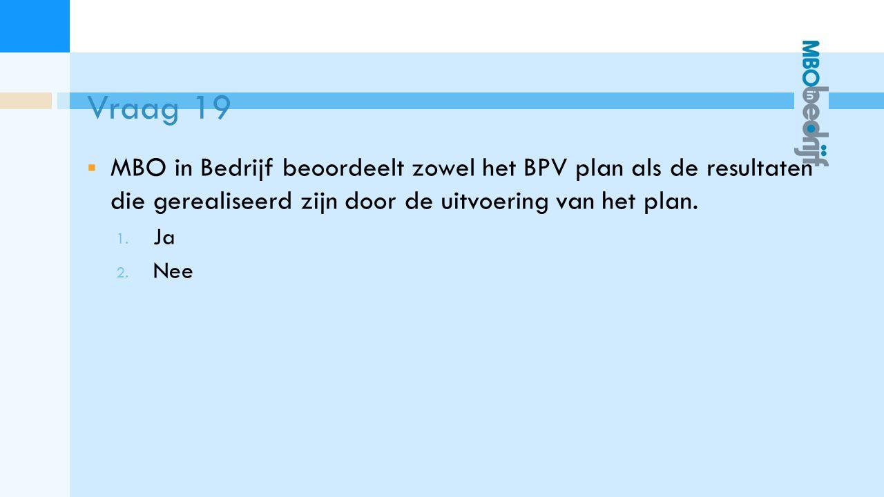 Vraag 19  MBO in Bedrijf beoordeelt zowel het BPV plan als de resultaten die gerealiseerd zijn door de uitvoering van het plan.