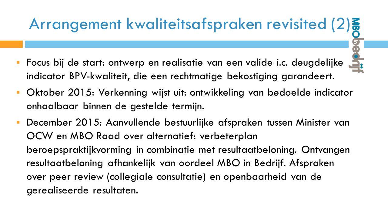 Arrangement kwaliteitsafspraken revisited (2)  Focus bij de start: ontwerp en realisatie van een valide i.c.