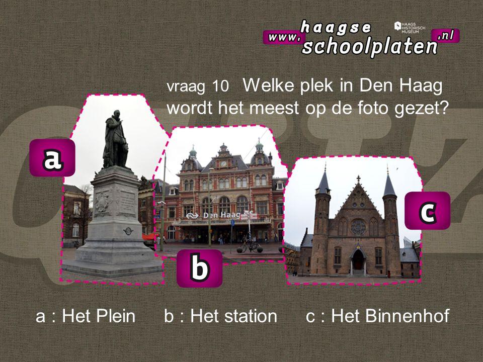a : Het Plein b : Het station c : Het Binnenhof vraag 10 Welke plek in Den Haag wordt het meest op de foto gezet