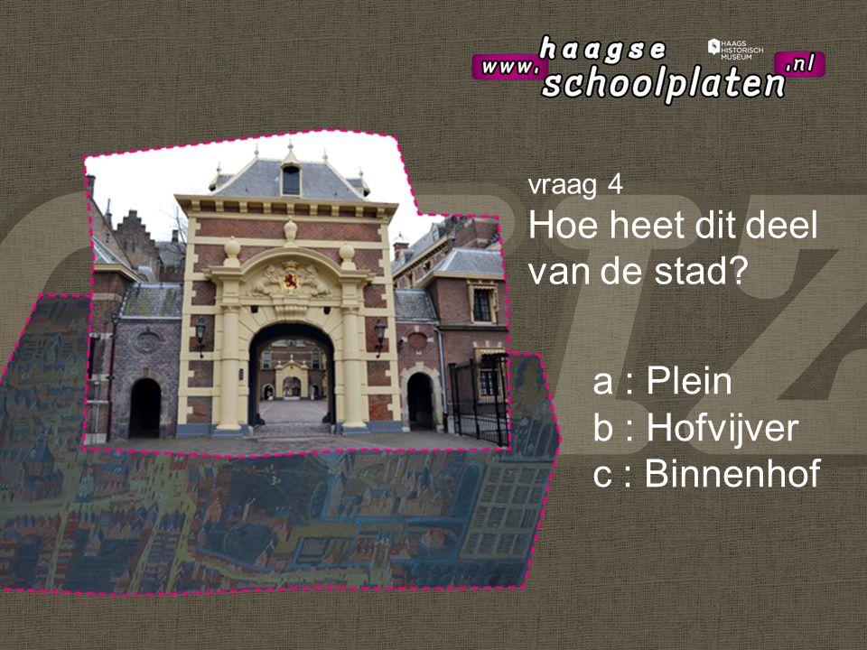 a : Plein b : Hofvijver c : Binnenhof vraag 4 Hoe heet dit deel van de stad