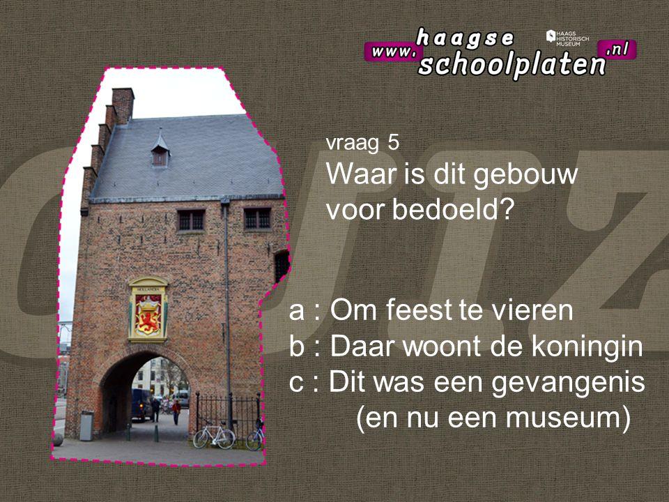 a : Om feest te vieren b : Daar woont de koningin c : Dit was een gevangenis (en nu een museum) vraag 5 Waar is dit gebouw voor bedoeld