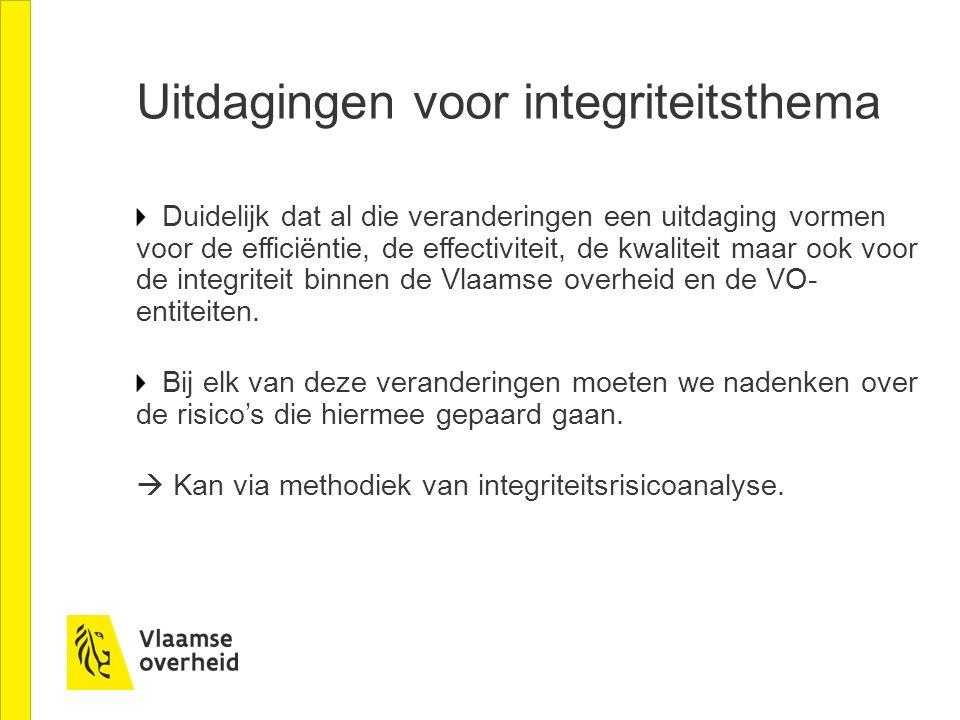 Duidelijk dat al die veranderingen een uitdaging vormen voor de efficiëntie, de effectiviteit, de kwaliteit maar ook voor de integriteit binnen de Vlaamse overheid en de VO- entiteiten.