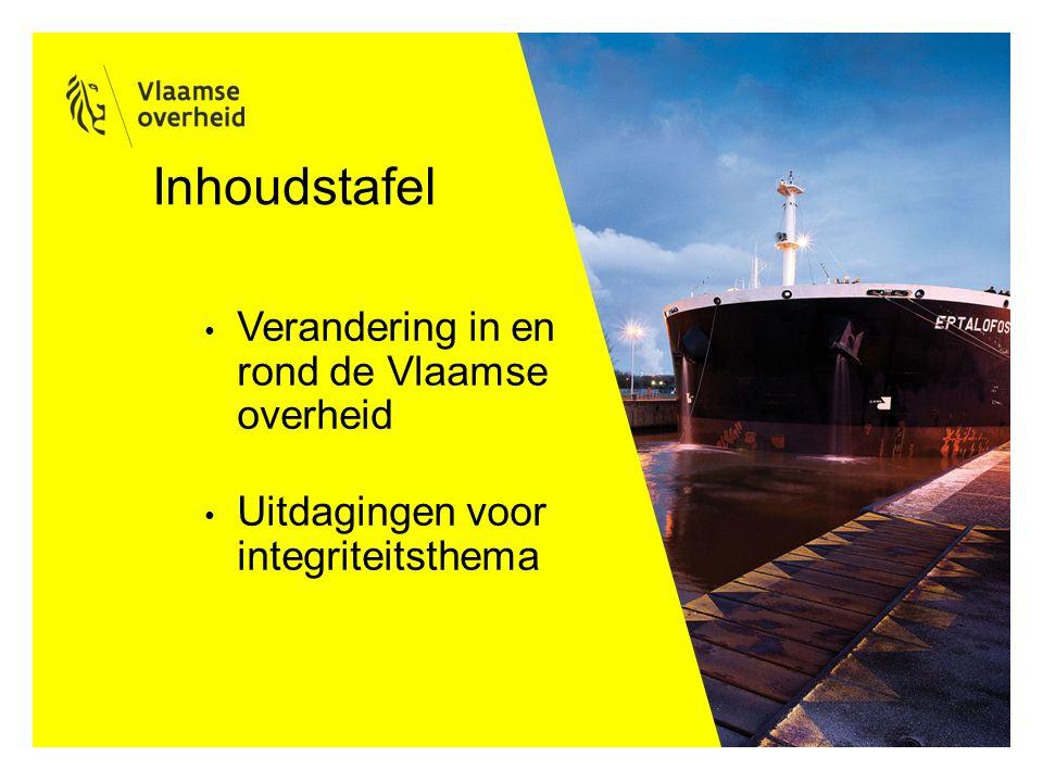 Inhoudstafel Verandering in en rond de Vlaamse overheid Uitdagingen voor integriteitsthema