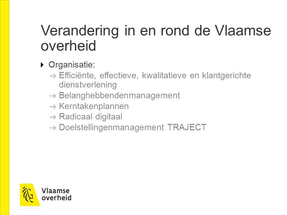 Verandering in en rond de Vlaamse overheid Organisatie: Efficiënte, effectieve, kwalitatieve en klantgerichte dienstverlening Belanghebbendenmanagement Kerntakenplannen Radicaal digitaal Doelstellingenmanagement TRAJECT