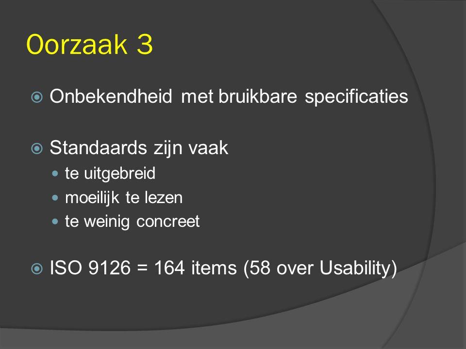 Oorzaak 3  Onbekendheid met bruikbare specificaties  Standaards zijn vaak te uitgebreid moeilijk te lezen te weinig concreet  ISO 9126 = 164 items (58 over Usability)