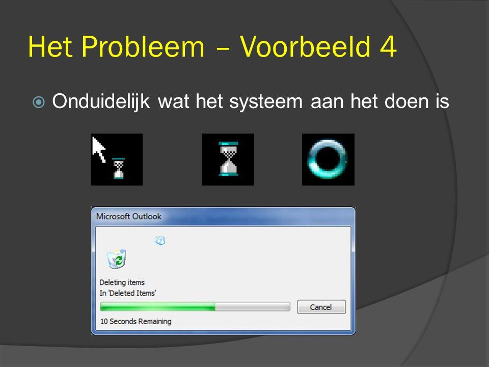 Het Probleem – Voorbeeld 4  Onduidelijk wat het systeem aan het doen is