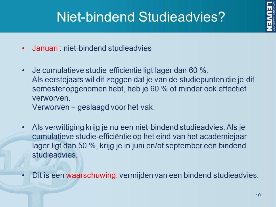 10 Niet-bindend Studieadvies? Januari : niet-bindend studieadvies Je cumulatieve studie-efficiëntie ligt lager dan 60 %. Als eerstejaars wil dit zegge