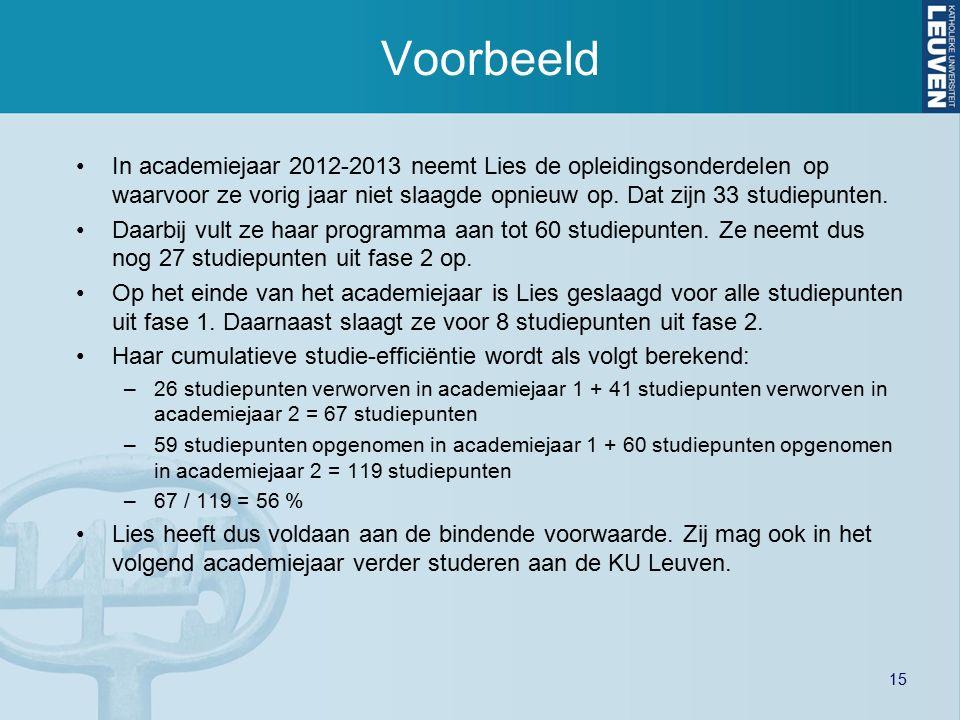 15 Voorbeeld In academiejaar 2012-2013 neemt Lies de opleidingsonderdelen op waarvoor ze vorig jaar niet slaagde opnieuw op. Dat zijn 33 studiepunten.