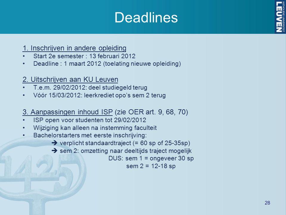 28 Deadlines 1. Inschrijven in andere opleiding Start 2e semester : 13 februari 2012 Deadline : 1 maart 2012 (toelating nieuwe opleiding) 2. Uitschrij