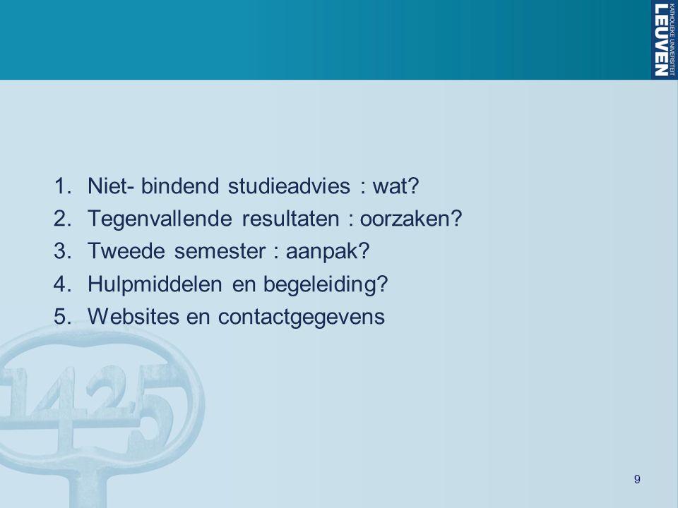 9 1.Niet- bindend studieadvies : wat? 2.Tegenvallende resultaten : oorzaken? 3.Tweede semester : aanpak? 4.Hulpmiddelen en begeleiding? 5.Websites en