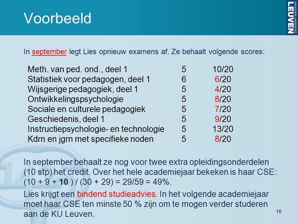 16 Voorbeeld In september legt Lies opnieuw examens af.