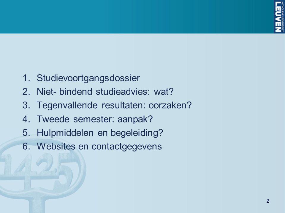 2 1.Studievoortgangsdossier 2.Niet- bindend studieadvies: wat.