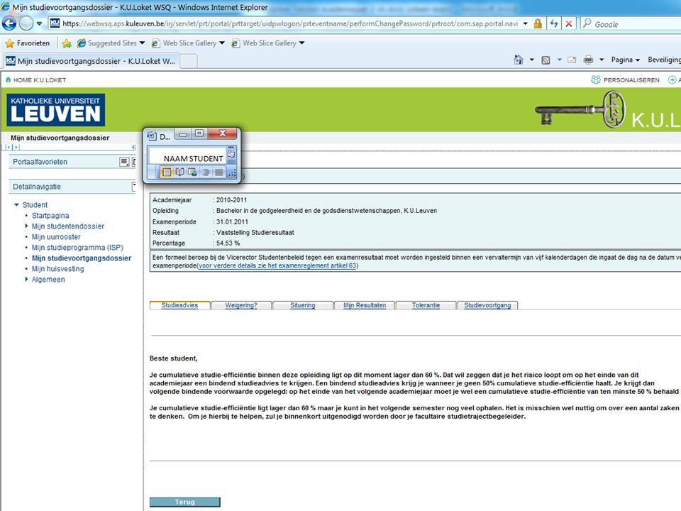 Individuele nabespreking januari examens Vakspecifieke nabesprekingen –Per opo –Lijst voor opo's 1 ste en 2 e studiefase bachelor + schakel- en voorbereidingsprogramma's: zie document op DOS-website (http://ppw.kuleuven.be/dos/examensnabespreken)http://ppw.kuleuven.be/dos/examensnabespreken –Soms ook aankondiging via Toledo –Voor de andere programmajaren: vakspecifieke nabesprekingen aangekondigd via Toledo.
