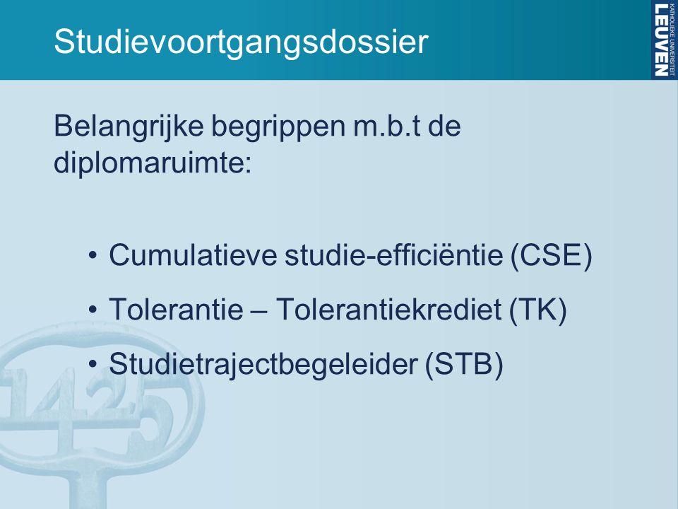 Studievoortgangsdossier Belangrijke begrippen m.b.t de diplomaruimte: Cumulatieve studie-efficiëntie (CSE) Tolerantie – Tolerantiekrediet (TK) Studietrajectbegeleider (STB)