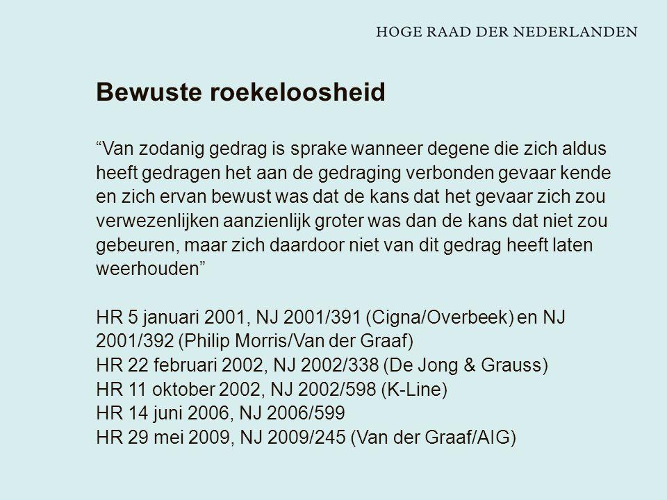Bewuste roekeloosheid Van zodanig gedrag is sprake wanneer degene die zich aldus heeft gedragen het aan de gedraging verbonden gevaar kende en zich ervan bewust was dat de kans dat het gevaar zich zou verwezenlijken aanzienlijk groter was dan de kans dat niet zou gebeuren, maar zich daardoor niet van dit gedrag heeft laten weerhouden HR 5 januari 2001, NJ 2001/391 (Cigna/Overbeek) en NJ 2001/392 (Philip Morris/Van der Graaf) HR 22 februari 2002, NJ 2002/338 (De Jong & Grauss) HR 11 oktober 2002, NJ 2002/598 (K-Line) HR 14 juni 2006, NJ 2006/599 HR 29 mei 2009, NJ 2009/245 (Van der Graaf/AIG)