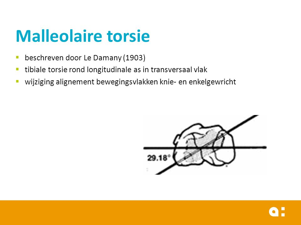  beschreven door Le Damany (1903)  tibiale torsie rond longitudinale as in transversaal vlak  wijziging alignement bewegingsvlakken knie- en enkelgewricht Malleolaire torsie