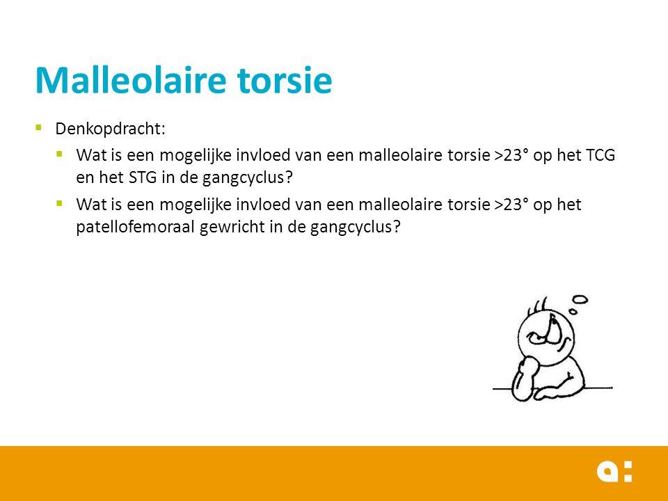  Denkopdracht:  Wat is een mogelijke invloed van een malleolaire torsie >23° op het TCG en het STG in de gangcyclus.