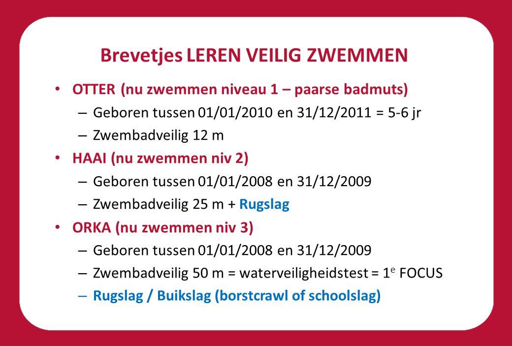 Brevetjes LEREN VEILIG ZWEMMEN OTTER (nu zwemmen niveau 1 – paarse badmuts) – Geboren tussen 01/01/2010 en 31/12/2011 = 5-6 jr – Zwembadveilig 12 m HAAI (nu zwemmen niv 2) – Geboren tussen 01/01/2008 en 31/12/2009 – Zwembadveilig 25 m + Rugslag ORKA (nu zwemmen niv 3) – Geboren tussen 01/01/2008 en 31/12/2009 – Zwembadveilig 50 m = waterveiligheidstest = 1 e FOCUS – Rugslag / Buikslag (borstcrawl of schoolslag)