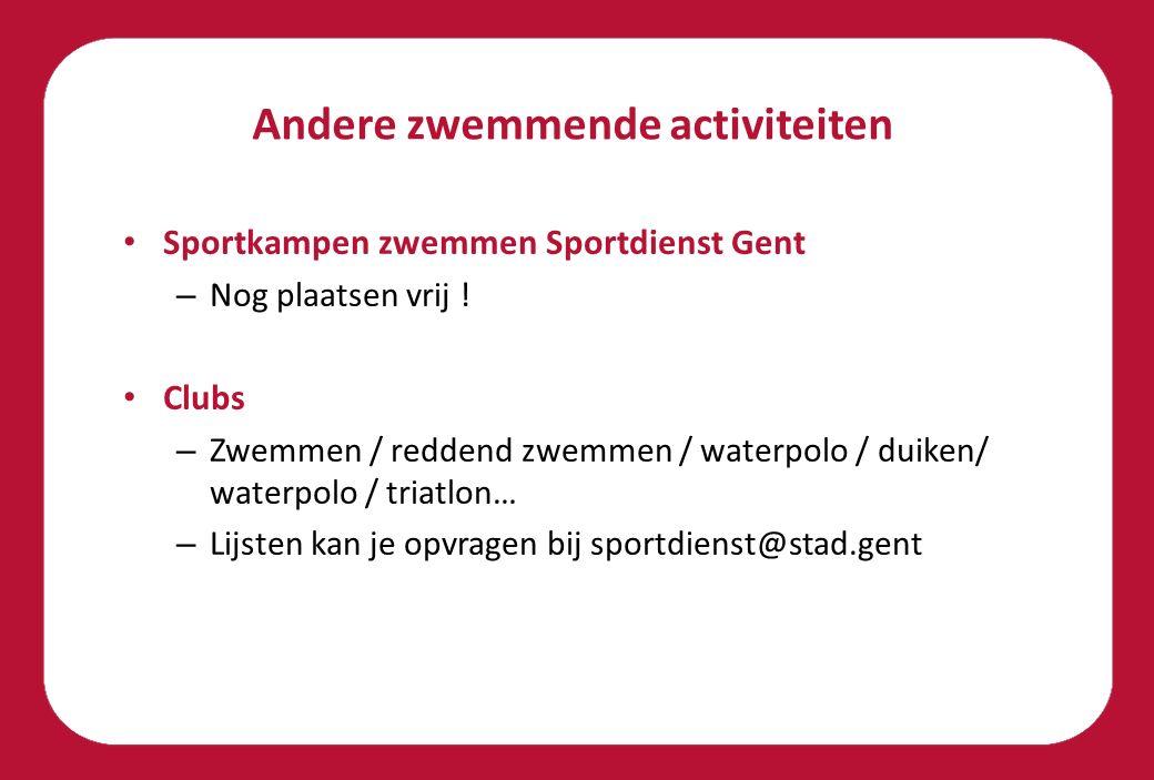 Andere zwemmende activiteiten Sportkampen zwemmen Sportdienst Gent – Nog plaatsen vrij .