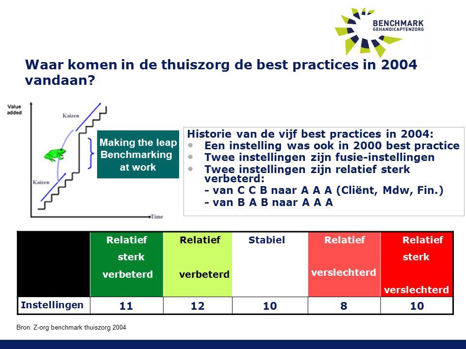 Waar komen in de thuiszorg de best practices in 2004 vandaan.