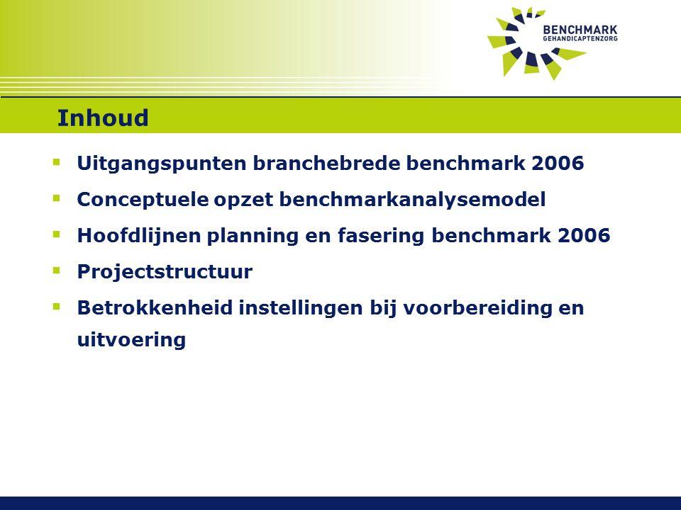 Inhoud  Uitgangspunten branchebrede benchmark 2006  Conceptuele opzet benchmarkanalysemodel  Hoofdlijnen planning en fasering benchmark 2006  Projectstructuur  Betrokkenheid instellingen bij voorbereiding en uitvoering