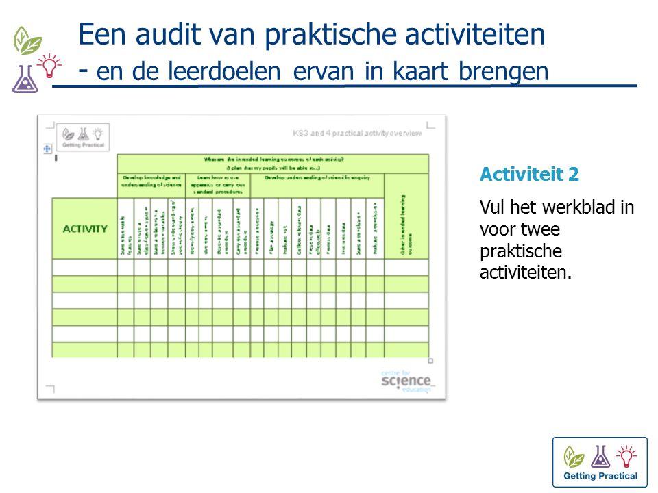 Een audit van praktische activiteiten - en de leerdoelen ervan in kaart brengen Activiteit 2 Vul het werkblad in voor twee praktische activiteiten.