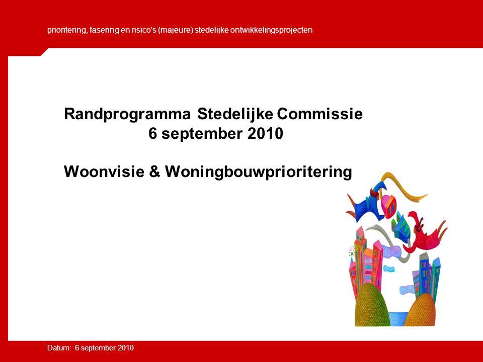 prioritering, fasering en risico s (majeure) stedelijke ontwikkelingsprojecten Datum: 6 september 2010 Randprogramma Stedelijke Commissie 6 september 2010 Woonvisie & Woningbouwprioritering