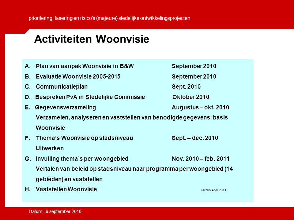 prioritering, fasering en risico s (majeure) stedelijke ontwikkelingsprojecten Datum: 6 september 2010 A.
