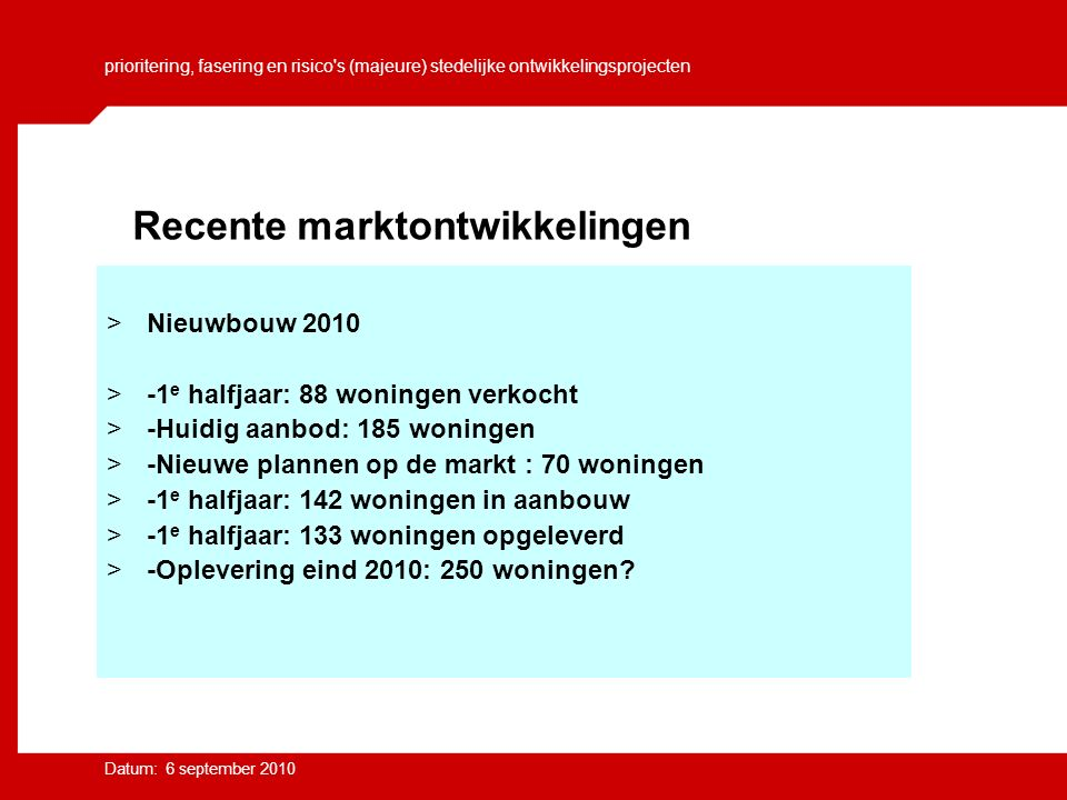prioritering, fasering en risico s (majeure) stedelijke ontwikkelingsprojecten Datum: 6 september 2010