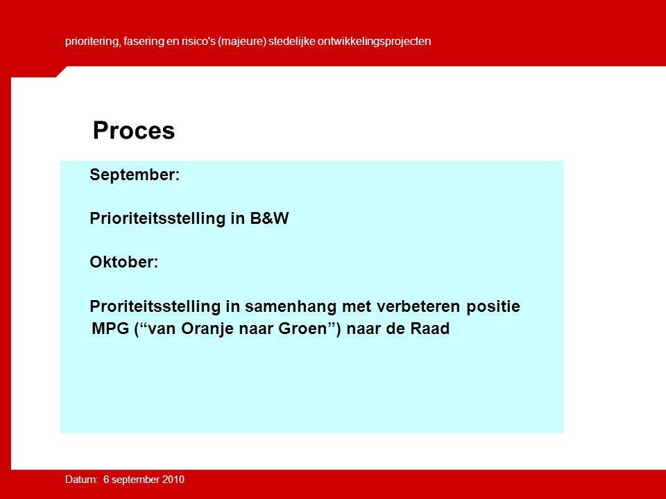 prioritering, fasering en risico s (majeure) stedelijke ontwikkelingsprojecten Datum: 6 september 2010 September: Prioriteitsstelling in B&W Oktober: Proriteitsstelling in samenhang met verbeteren positie MPG ( van Oranje naar Groen ) naar de Raad Proces
