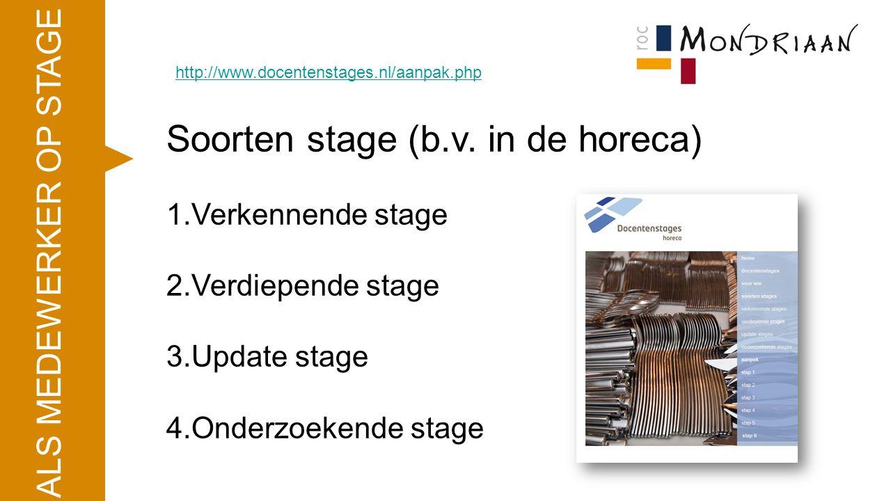 ALS MEDEWERKER OP STAGE http://www.docentenstages.nl/aanpak.php Soorten stage (b.v. in de horeca) 1.Verkennende stage 2.Verdiepende stage 3.Update sta