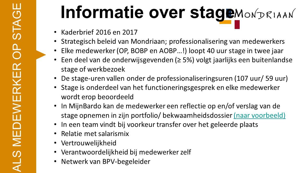 Kaderbrief 2016 en 2017 Strategisch beleid van Mondriaan; professionalisering van medewerkers Elke medewerker (OP, BOBP en AOBP…!) loopt 40 uur stage