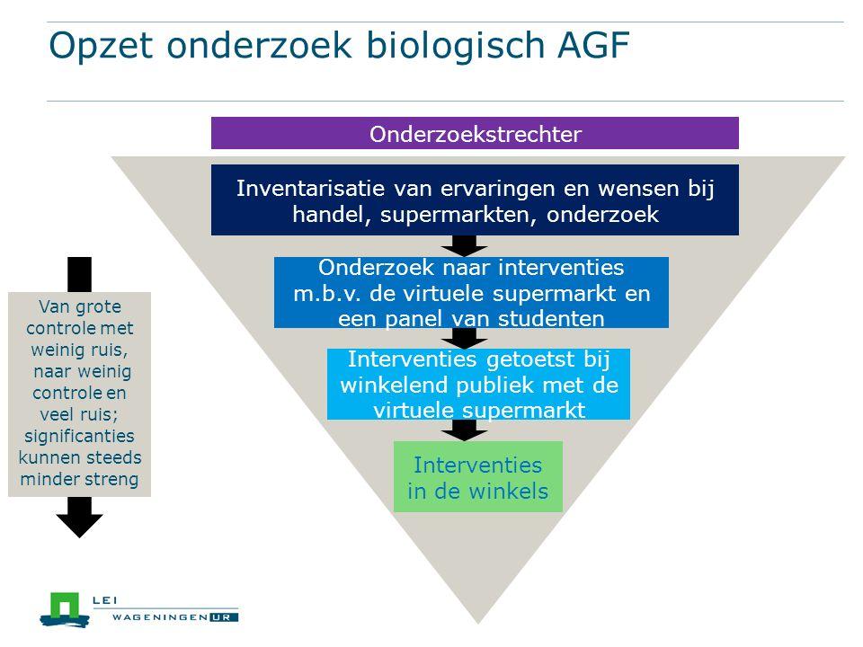 Opzet onderzoek biologisch AGF Onderzoekstrechter Inventarisatie van ervaringen en wensen bij handel, supermarkten, onderzoek Onderzoek naar interventies m.b.v.